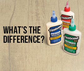 The primary differences between Titebond Original, Titebond II Premium and Titebond III Ultimate.